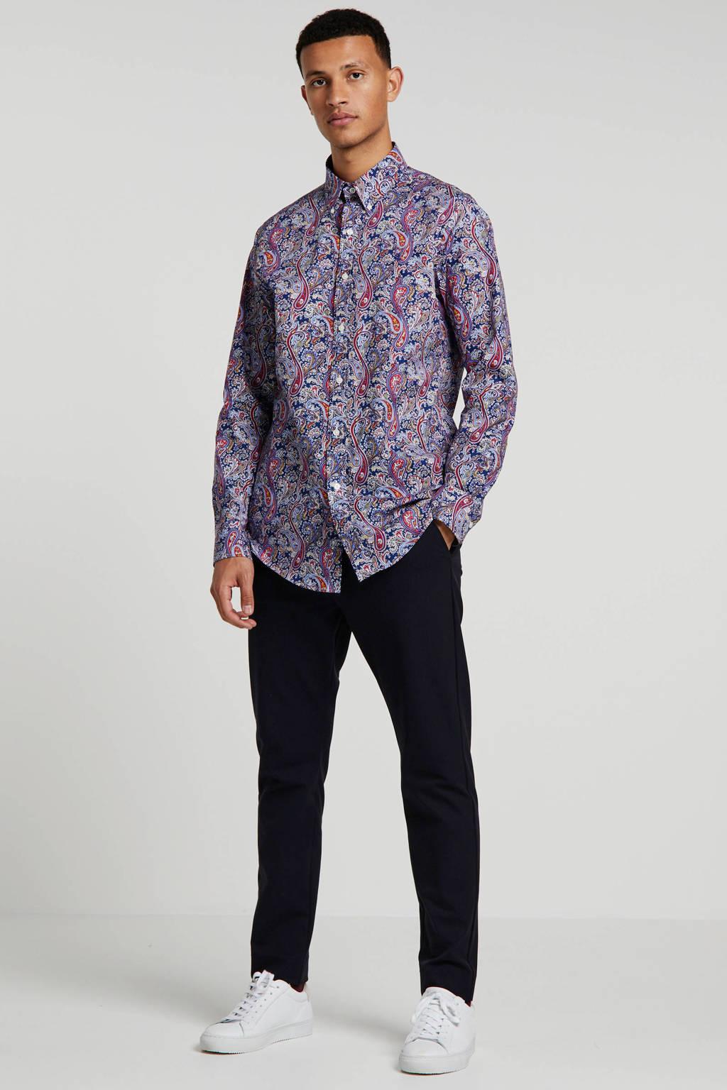POLO Ralph Lauren slim fit overhemd met all over print donkerblauw, Donkerblauw