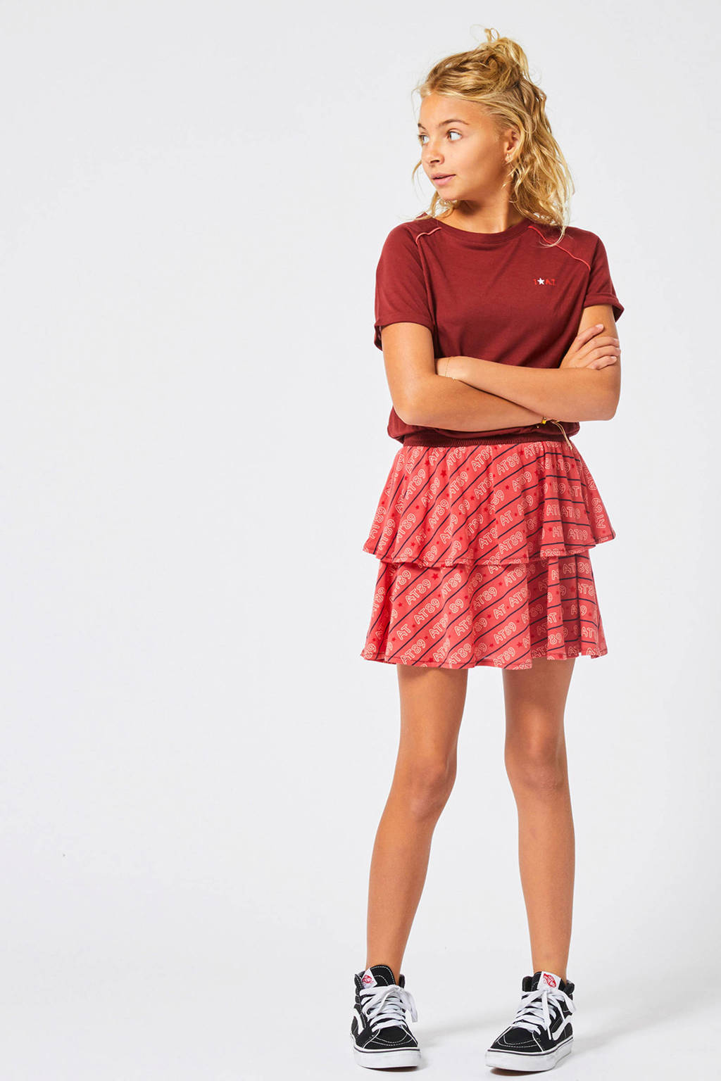 America Today Junior jurk Demi met logo rood, Rood