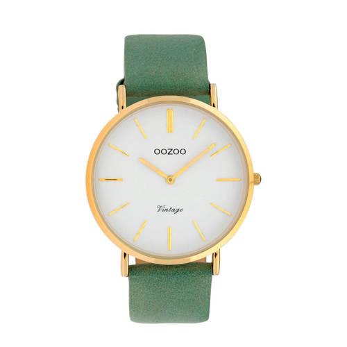 OOZOO leren horloge C9966 groen