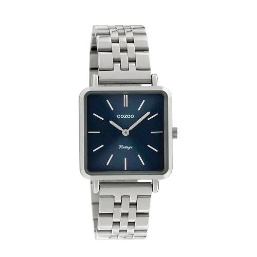 OOZOO C9951 Horloge Vintage staal zilverkleurig-blauw 29 x 29 mm