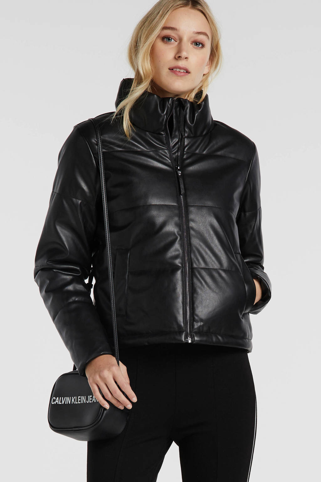 NOISY MAY imitatieleren gewatteerde jas zwart, Zwart
