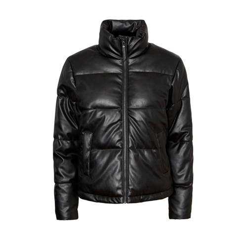 NOISY MAY imitatieleren gewatteerde jas zwart