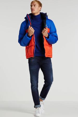 winterjas met all over print blauw/rood
