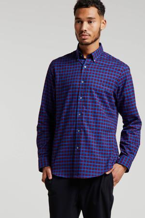 geruit slim fit overhemd blauw/rood