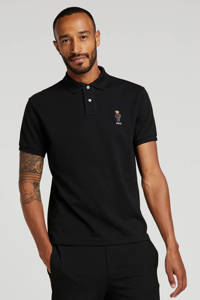 POLO Ralph Lauren slim fit polo met logo en borduursels zwart, Zwart