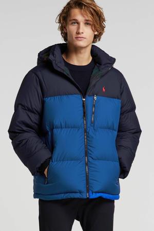 winterjas met all over print blauw
