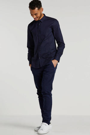 slim fit overhemd met stippen donkerblauw