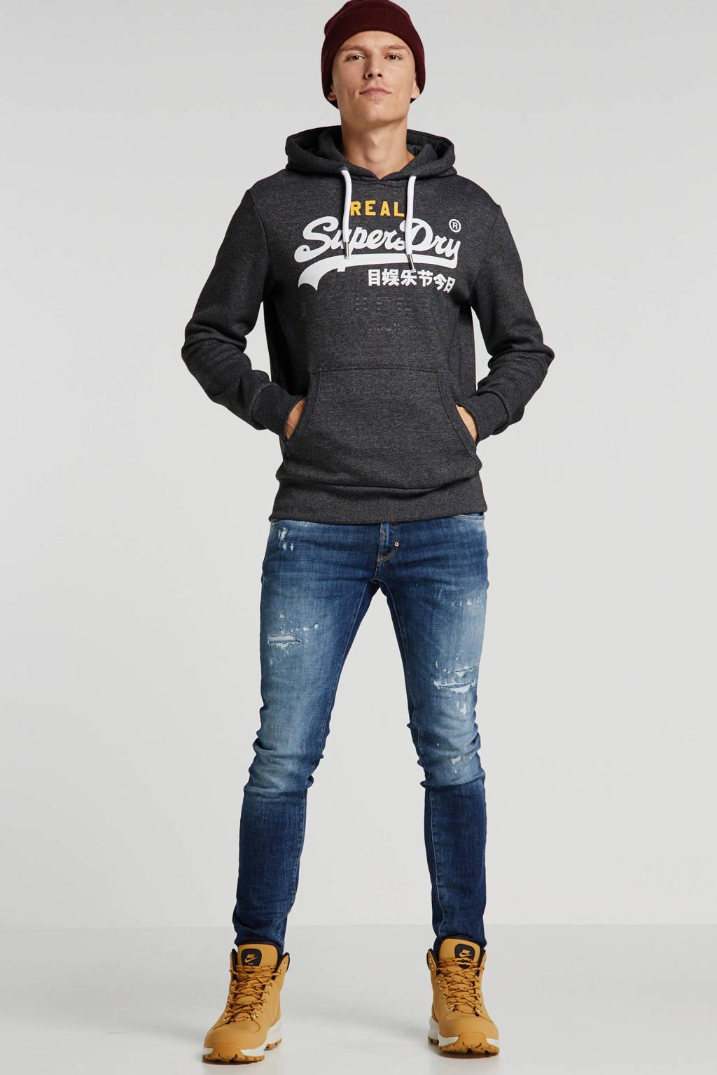 Antony Morato super skinny jeans met slijtage blue denim, Blue denim