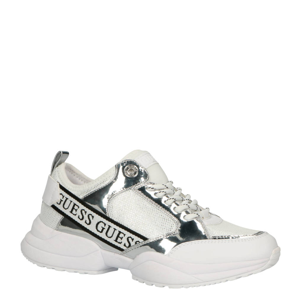 GUESS  Breeta sneakers wit/zilver, Zilver/wit
