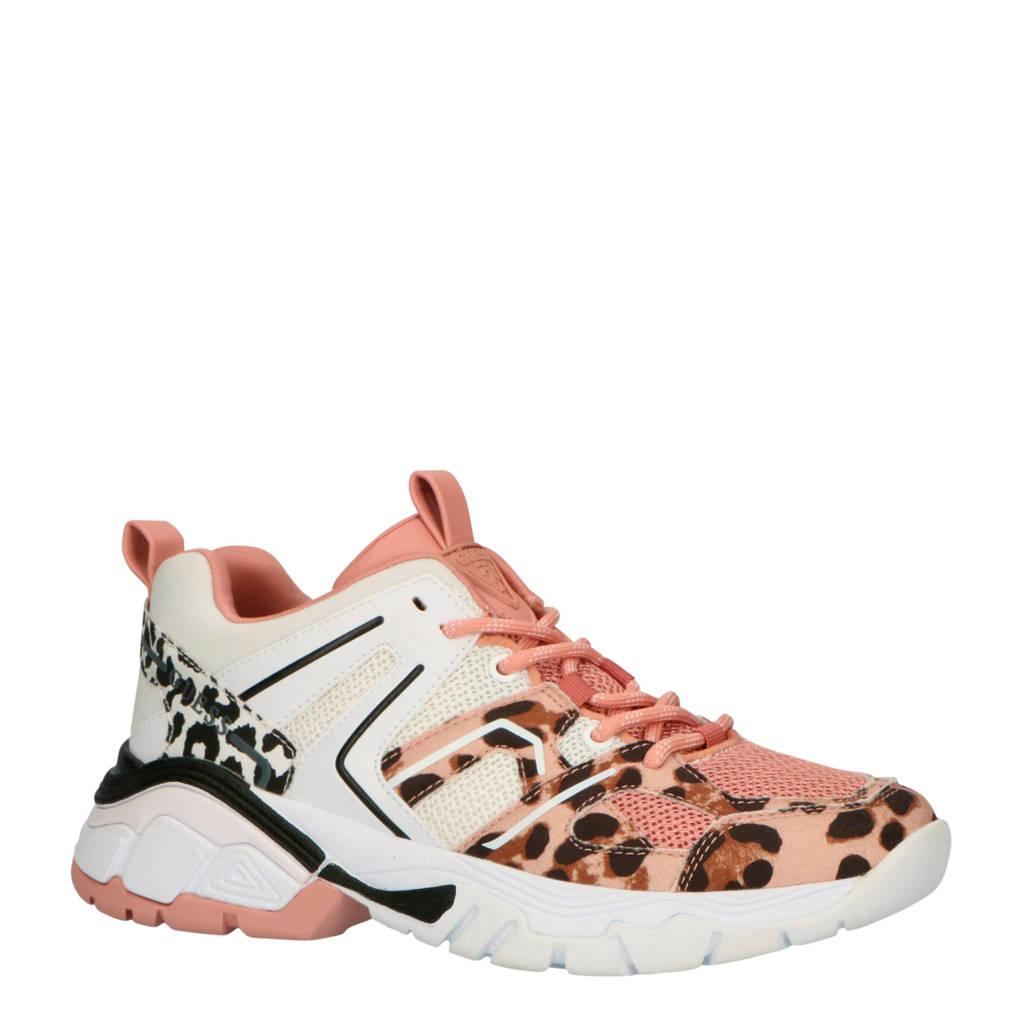 GUESS  Marlia chunky sneakers roze/panterprint, Roze/bruin/wit