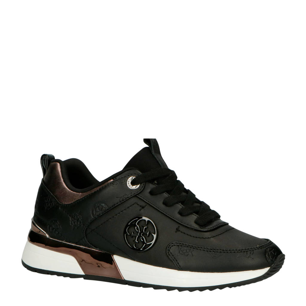 GUESS  Marlyn leren sneakers zwart, Zwart