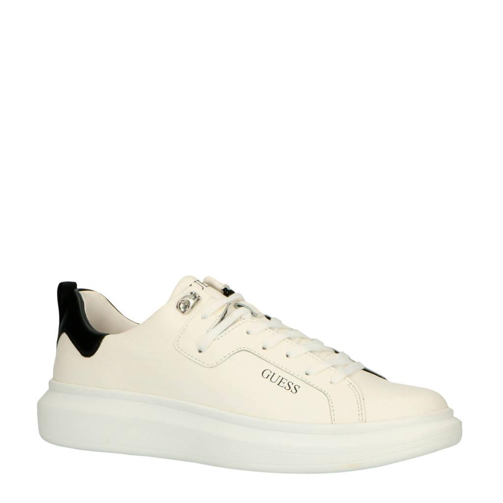 GUESS  Kurt leren sneakers wit/zwart, Wit/zwart