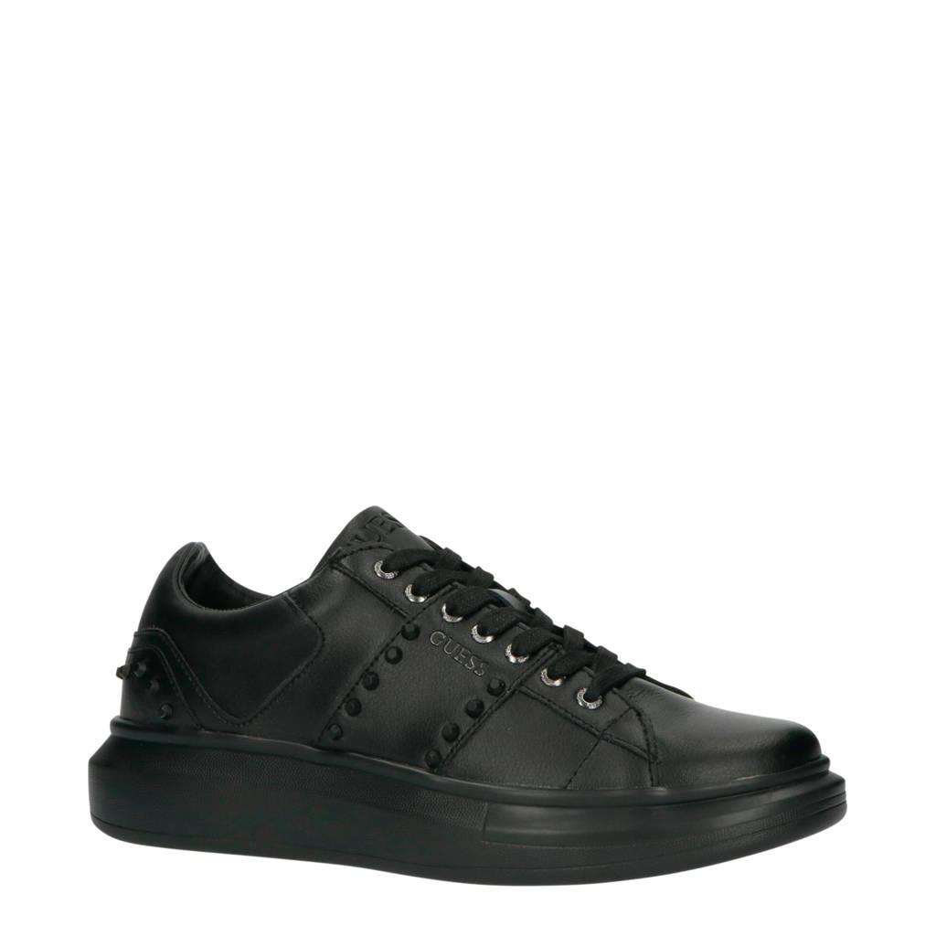 GUESS Kean  leren sneakers met studs zwart, Zwart