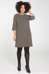 Paprika jurk met all over print zwart multi