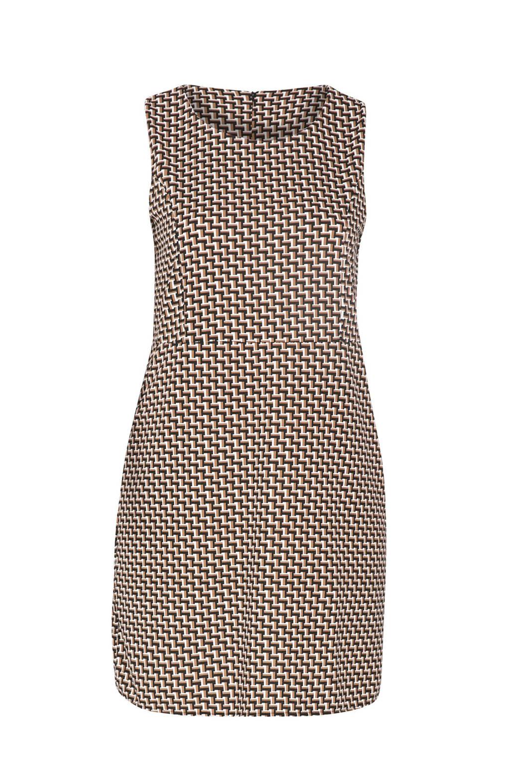Paprika jersey jurk met grafische print zwart/bruin/wit, Zwart/bruin/wit