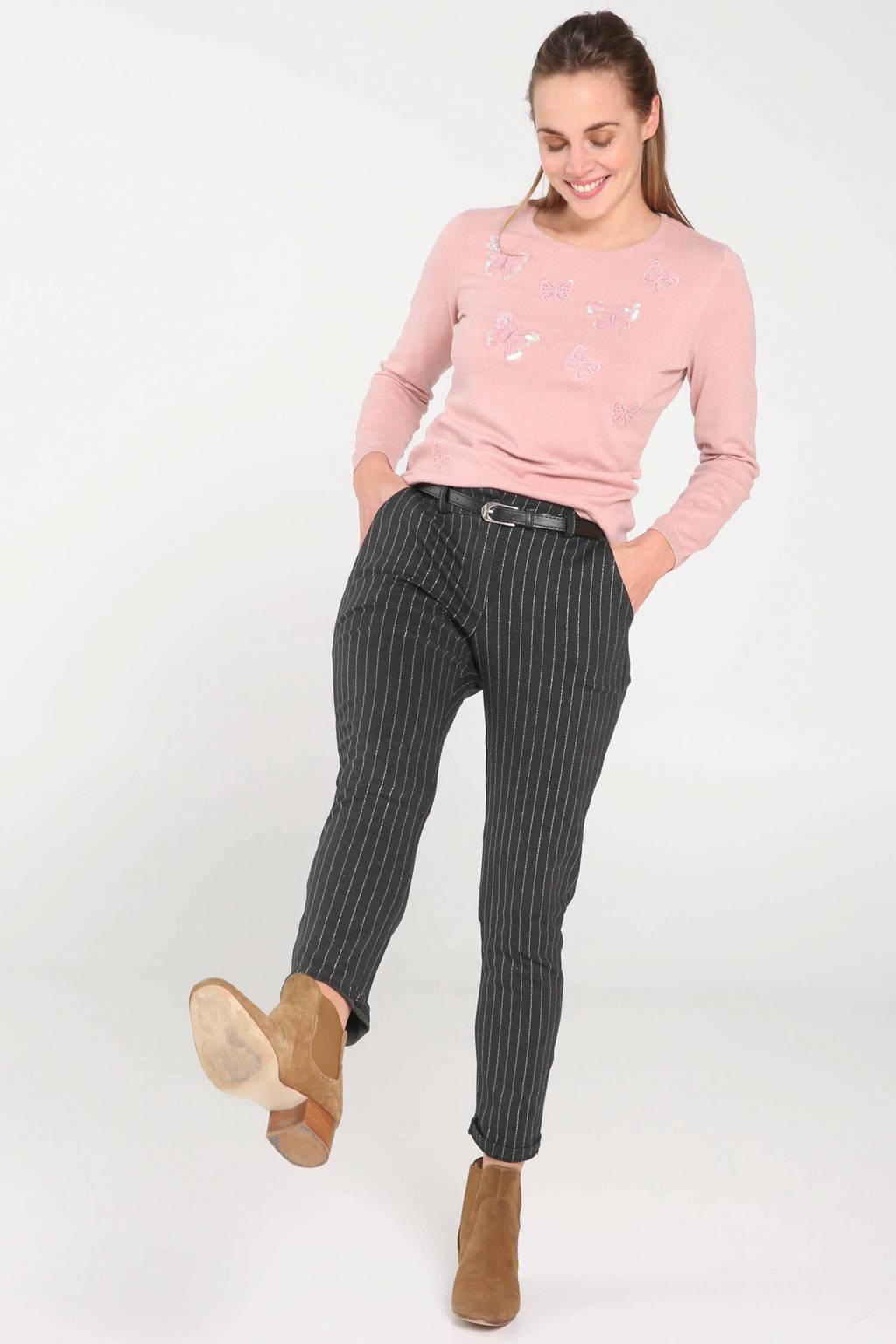 Cassis fijngebreide trui met borduursels roze, Roze