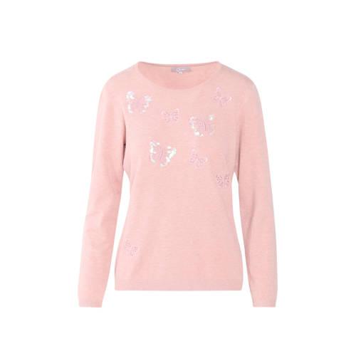 Cassis fijngebreide trui met borduursels roze