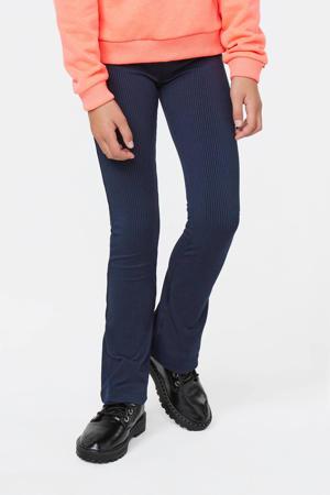 rib flared broek donkerblauw