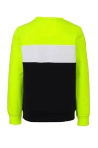 WE Fashion sweater met tekst donkerblauw/neon geel/wit, Donkerblauw/neon geel/wit