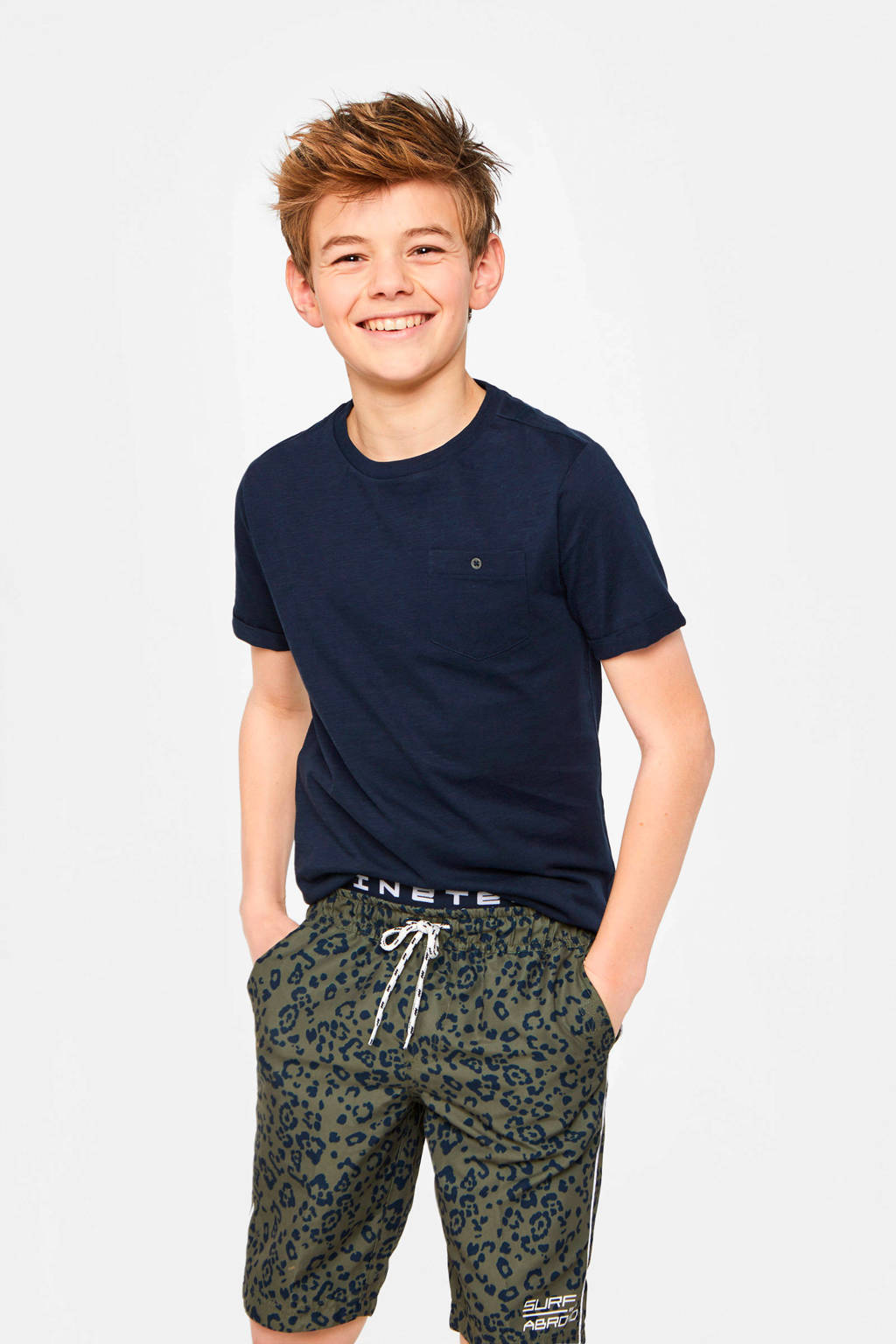WE Fashion zwemshort met all over print army groen/donkerblauw, Army groen/donkerblauw
