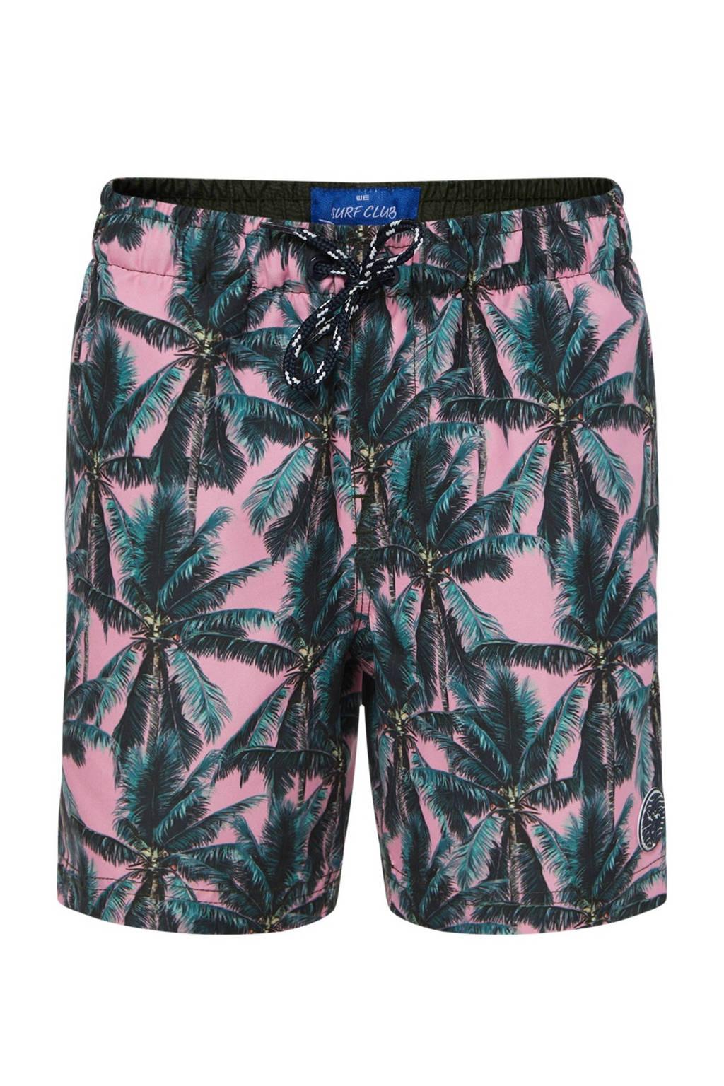 WE Fashion zwemshort met all over print roze/groen, No Color