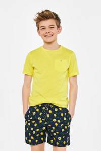 WE Fashion zwemshort met all over print marine/geel, Marine / geel
