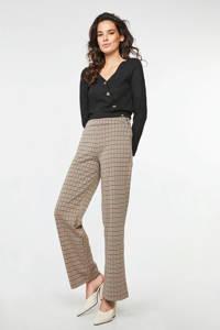 WE Fashion high waist flared broek met pied-de-poule beige, Beige