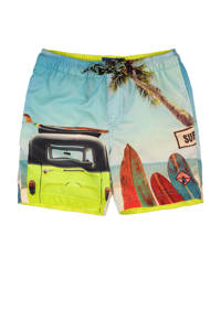WE Fashion zwemshort met all over print blauw, Multicolor