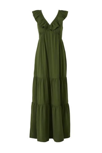 Yessica zwangerschapsjurk met volant groen