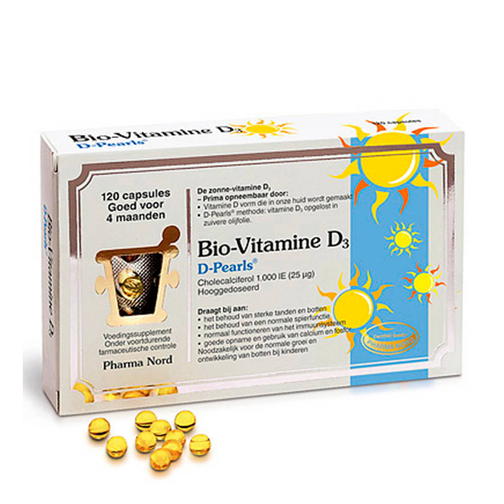 Pharma Nord Bio-Vitamine D3 -  D Pearls (1000 IE) - 120 capsules - vitaminen