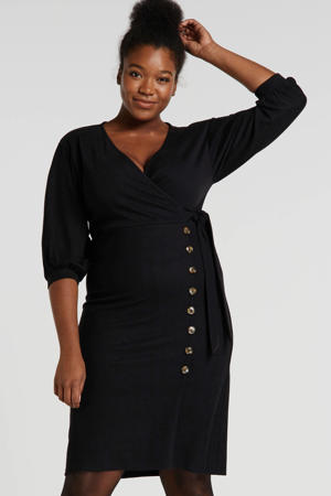 Plus jersey jurk zwart