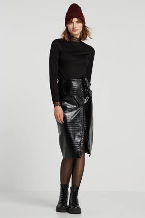 imitatieleren rok met textuur zwart
