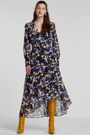 overslagjurk met all over print en volant zwart/blauw/paars