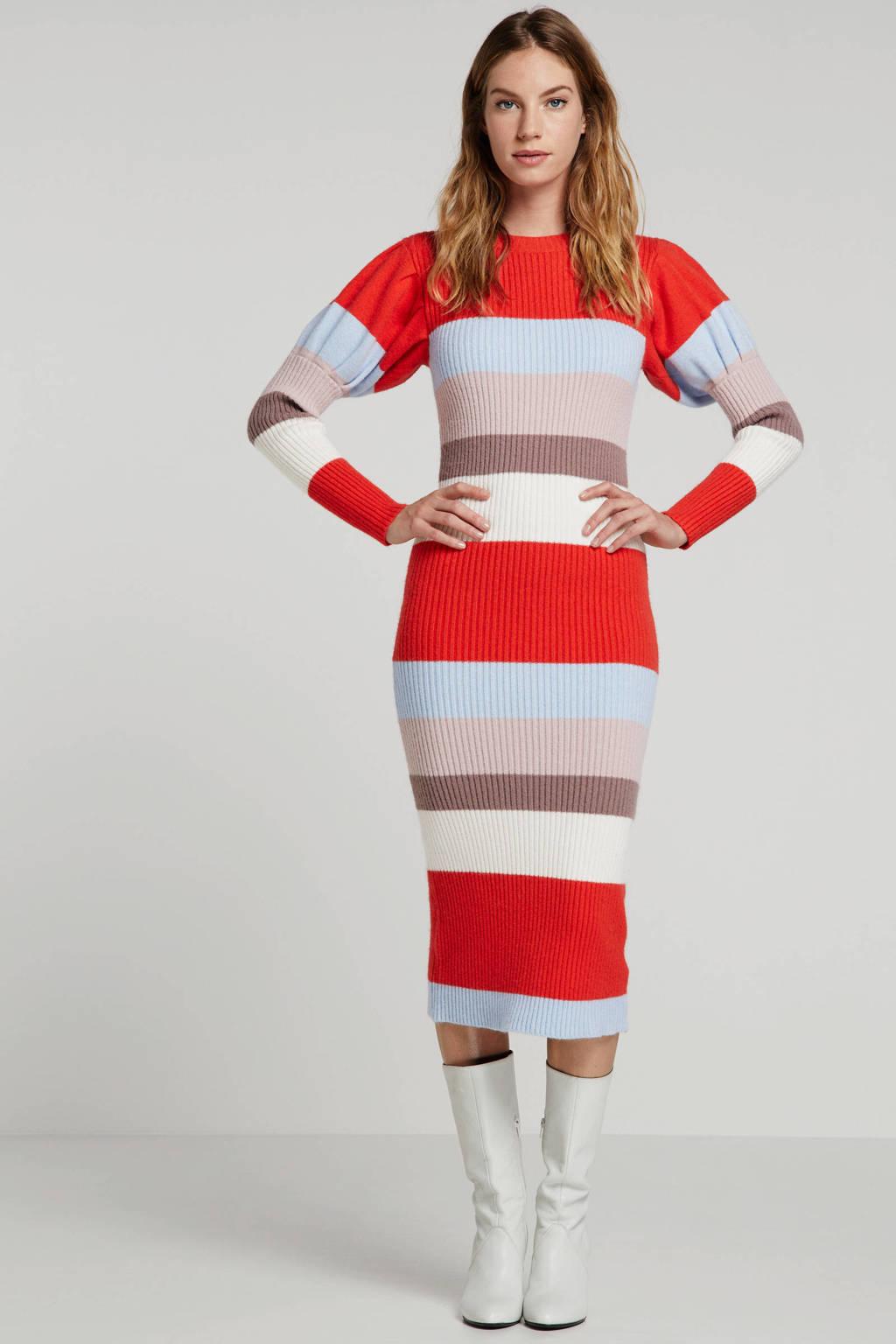 Lost Ink gestreepte jurk rood multi, Rood multi