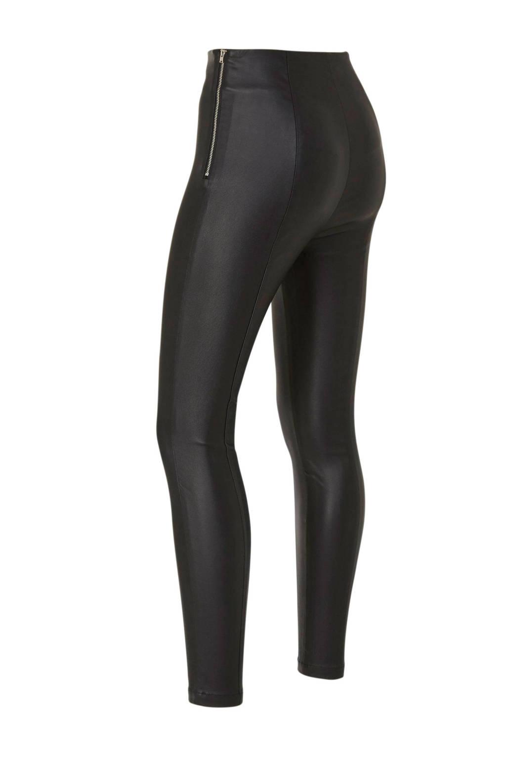 Lost Ink coated skinny broek zwart, Zwart
