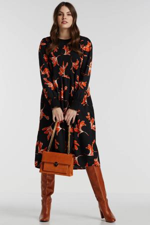 jurk met all over print zwart/oranje/wit