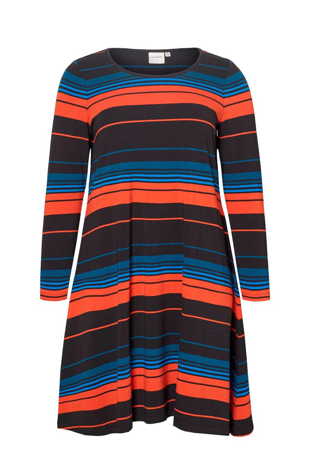 JUNAROSE gestreepte jersey jurk zwart/oranje/blauw, Zwart/oranje/blauw