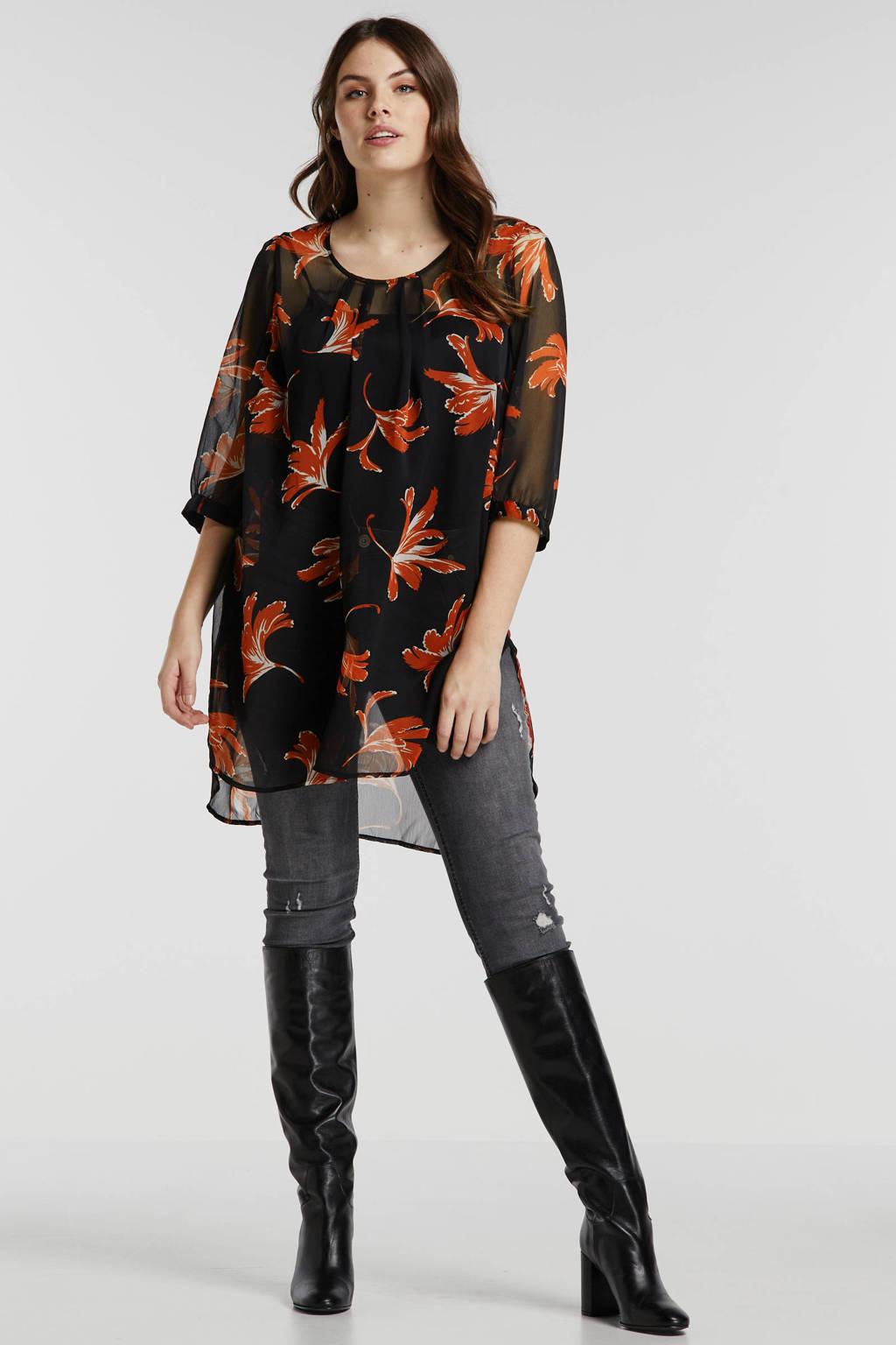 JUNAROSE top met all over print zwart/oranje, Zwart/oranje