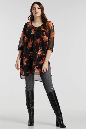 top met all over print zwart/oranje