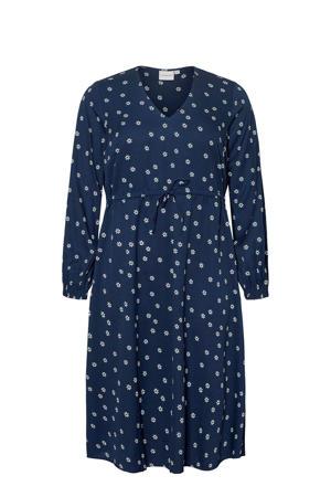 jurk met all over print donkerblauw