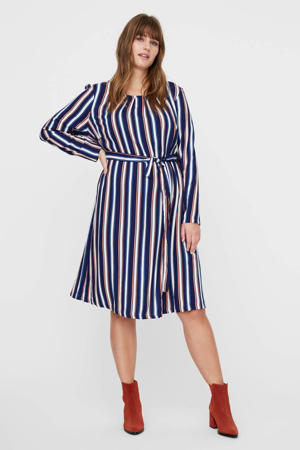 gestreepte jurk blauw/wit/oranje