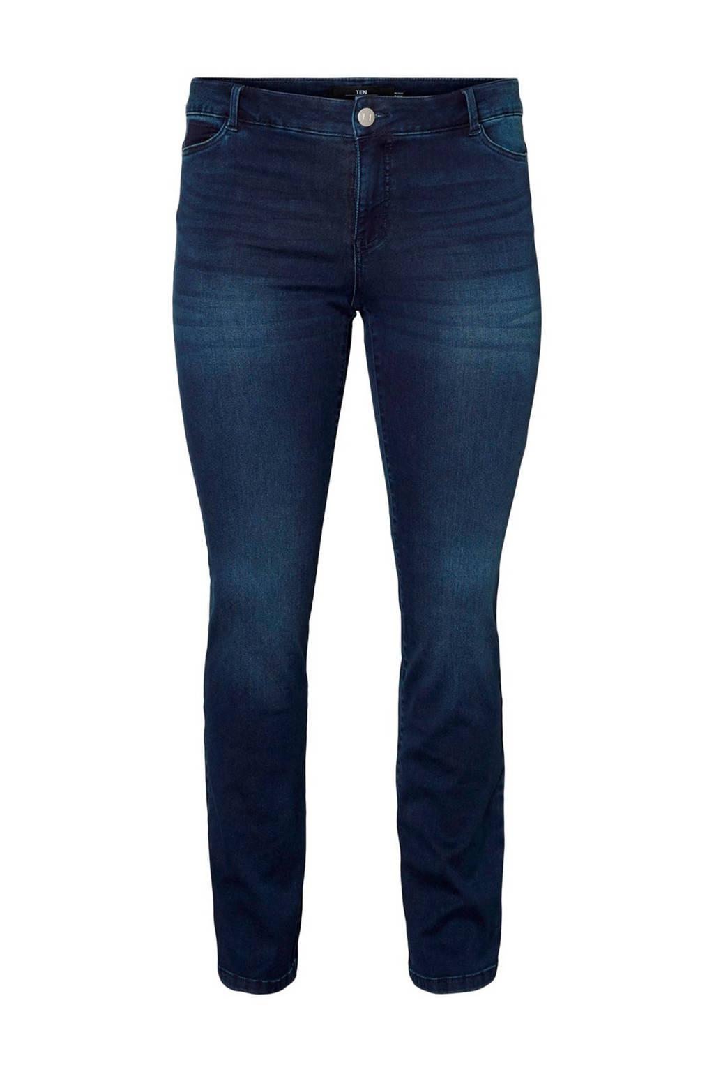 JUNAROSE slim fit jeans donkerblauw, Donkerblauw