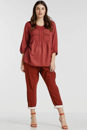 tapered fit broek met stippen roodbruin