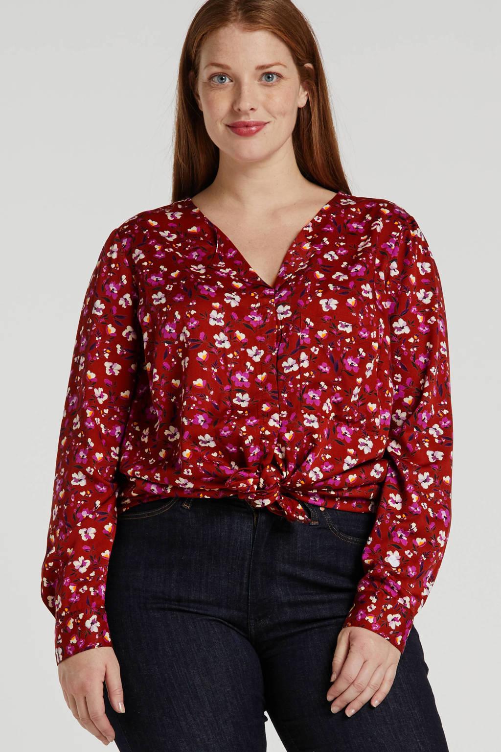 JUNAROSE gebloemde blouse rood, Rood