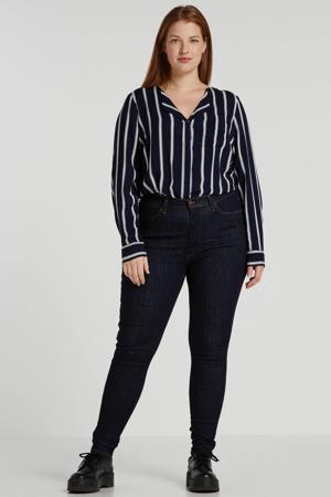 gestreepte blouse donkerblauw/ecru