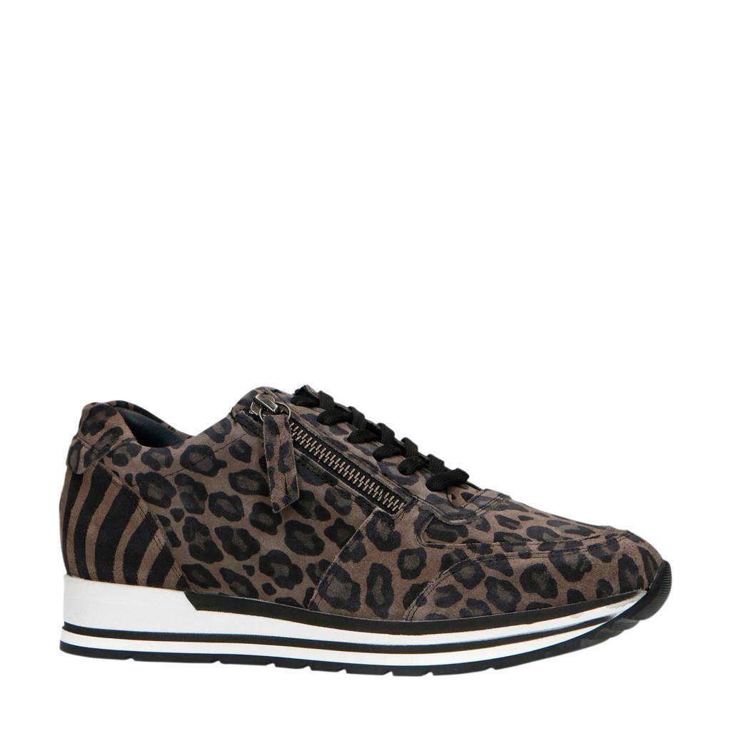 Manfield   suède sneakers panterprint taupe, Taupe/grijs/zwart