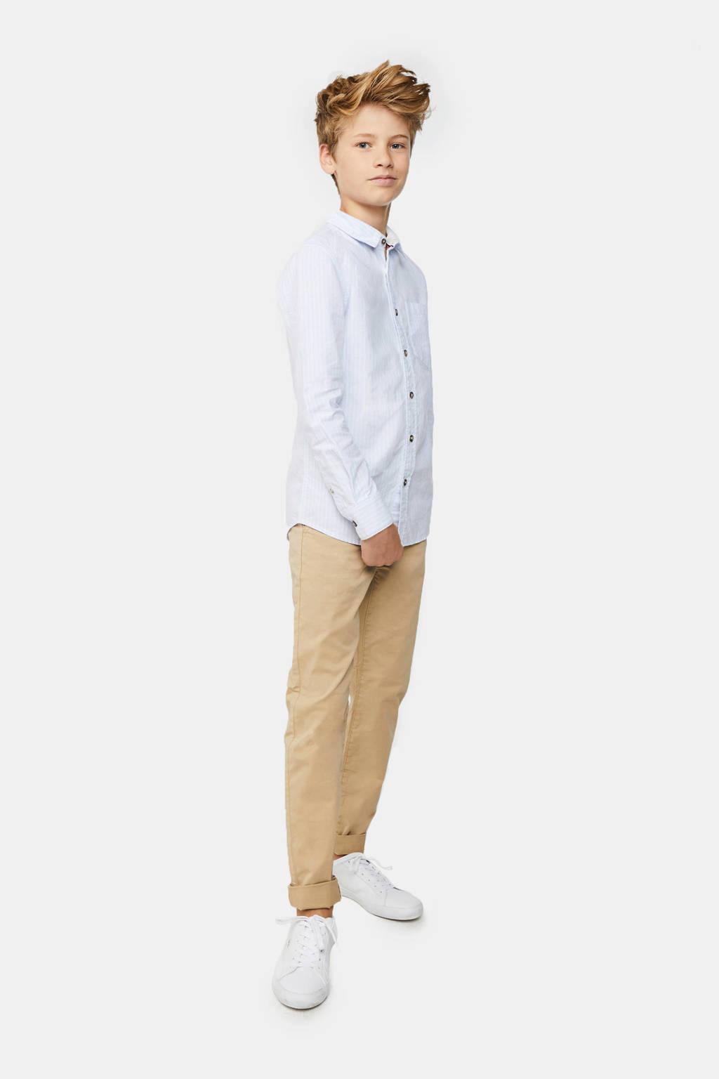 WE Fashion gestreept regular fit overhemd lichtblauw/wit, Lichtblauw/wit