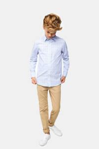 WE Fashion slim fit overhemd met all over print lichtblauw, Lichtblauw