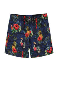WE Fashion zwemshort met all over print blauw, Blauw / rood / groen