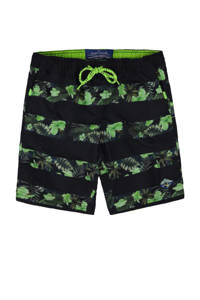 WE Fashion zwemshort met all over print groen, Groen / zwart